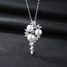 цена S925 Pure Silver Necklace Pendant Natural Freshwater Pearl Fine Jewelry Foreign Trade Clavicle Necklace Jewelry for Women онлайн в 2017 году