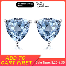 JewelryPalace 1.8ct Natural Sky Blue Topaz 925 Sterling Silver Charms Stud Earrings For Women New Fashion Accessories On Sale