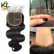 KL 5x5 Body Wave HD кружевная застежка бразильская Реми Прозрачная Кружевная застежка с детскими волосами Кожа плавится невидимые человеческие волосы