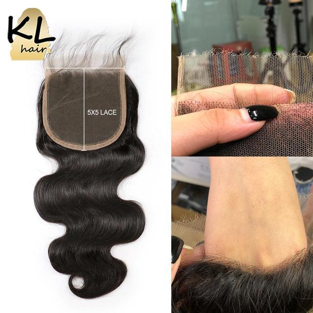 KL 5x5 גוף גל HD סגירת תחרה ברזילאי רמי שקוף תחרה סגר עם תינוק שיער עור להמיס בלתי נראה שיער טבעי סגירה