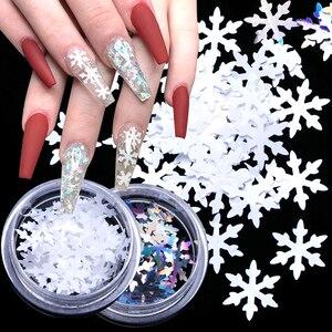 3D Nail Art Decorations White Snowflake Chameleon Mirror Glitter Flakes Sequins Polish Manicure Nails Accessories LADX01-06-1