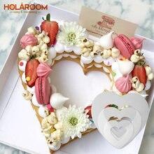 Holaroom forma do coração pet plástico bolo molde ferramentas de decoração confeitaria fabricante útil cozimento acessórios 6/8/10/12/14 polegadas