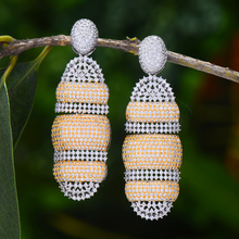 GODKI Luxury African Party Dangle Earring For Women Wedding Cubic Zirconia DUBAI Bridal Earring Jewelry 2020 beaqueen luxurious african cubic zirconia beads jewelry set nigerian wedding yellow bridal jewellery sets for women js091