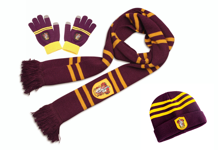 Wizard Potter Hermione Ron Scarf Hat Touch Gloves Gryffindor/Slytherin/Hufflepuff/Ravenclaw Scarves Hat Touch Gloves Scarf