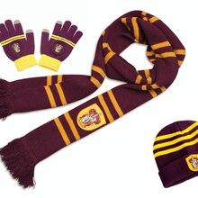 Волшебника Гарри Поттера Гермиона Рон шарф шапка перчатки для сенсорного экрана Гриффиндор/Слизерин/Хаффлпаффец/шарфы факультета рэвенкло шляпа перчатки для сенсорного экрана шарф