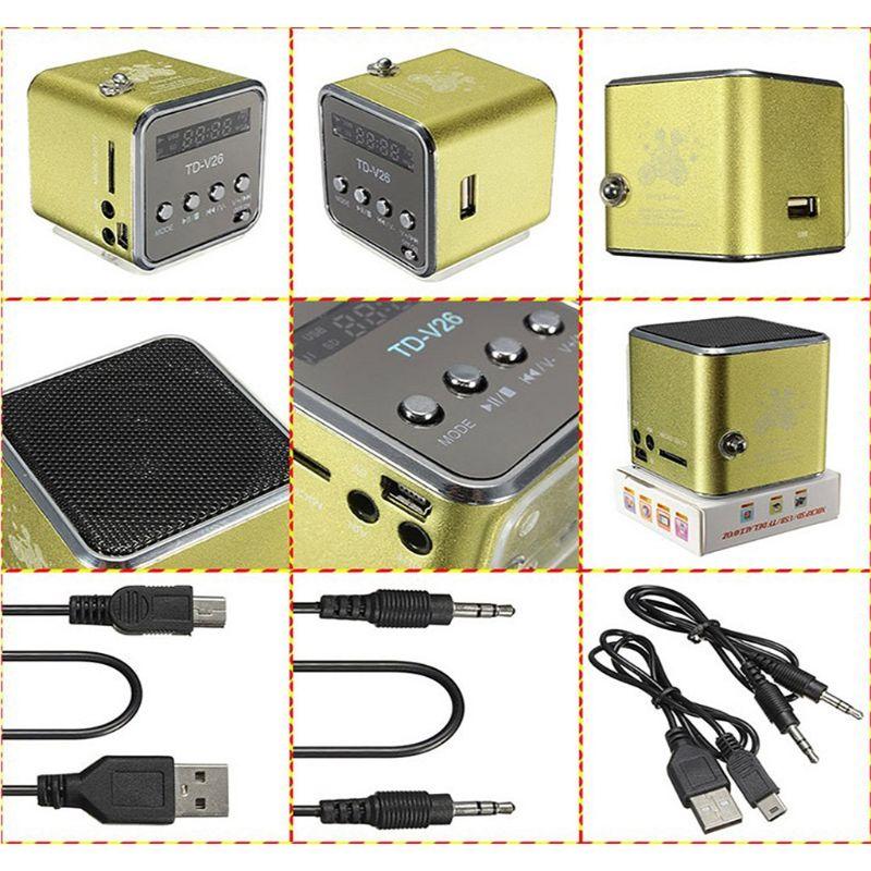 TD-V26 Mini Speaker Portable Micro SD TF Card USB Disk Stereo for DVD Laptop Mobile Phone MP3 player