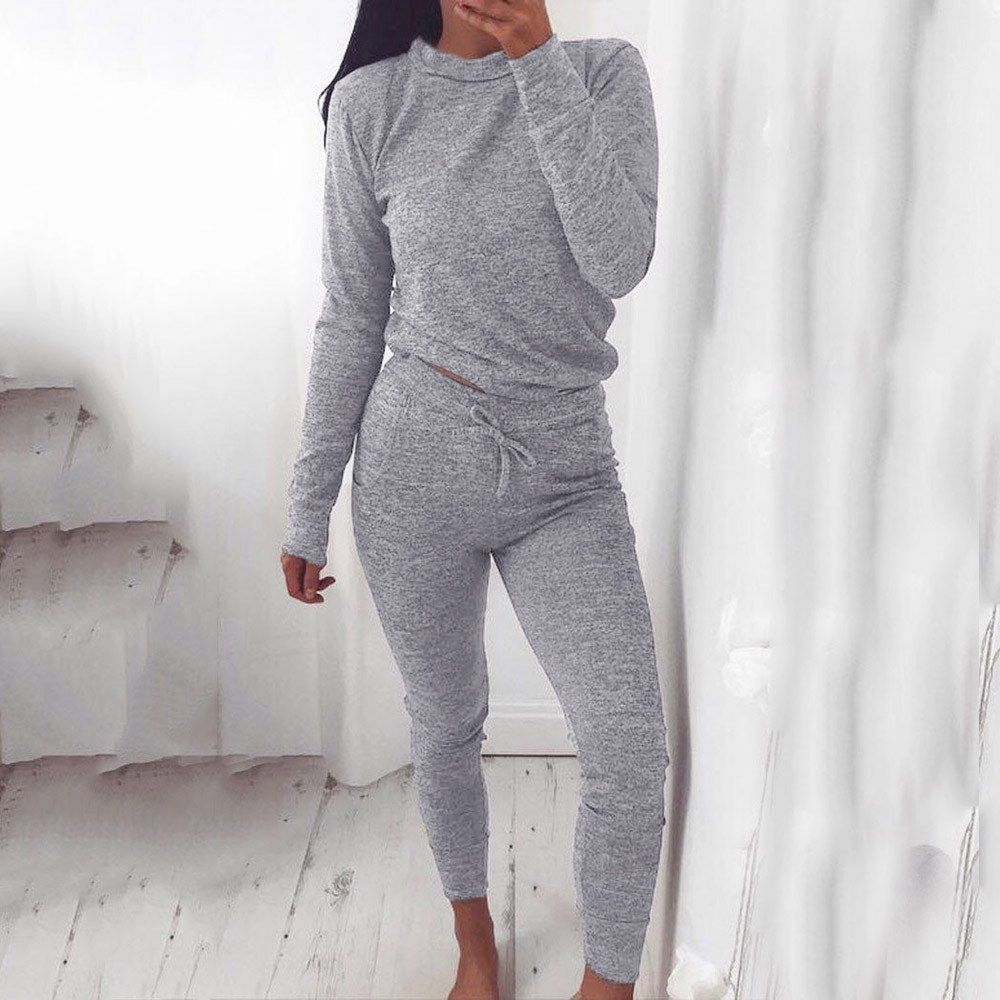 Tracksuit 2 Piece Suits Of Women 2 PCS Tracksuits Set Joggers Active Sports Suits For Women Blouse T-Shirt + Workout Pants Set