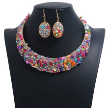 Vintage Exaggerated Full  Rhinestone Small Colorful Stone Choker Necklace Earrings Women Fake Collar Charms Jewelry Sets charming geometric colored artificial gem rhinestone fake collar necklace and earrings for women