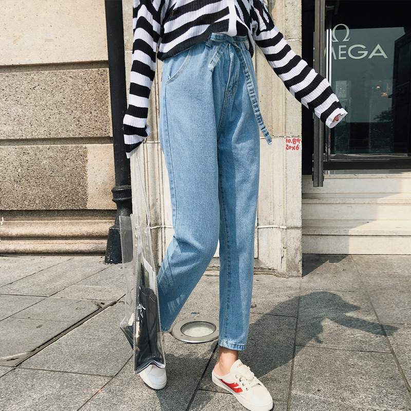[Dowisi] 2018 Autumn New Style Korean-style WOMEN'S Wear Loose Elastic Waist Lace-up Harem Jeans F5270