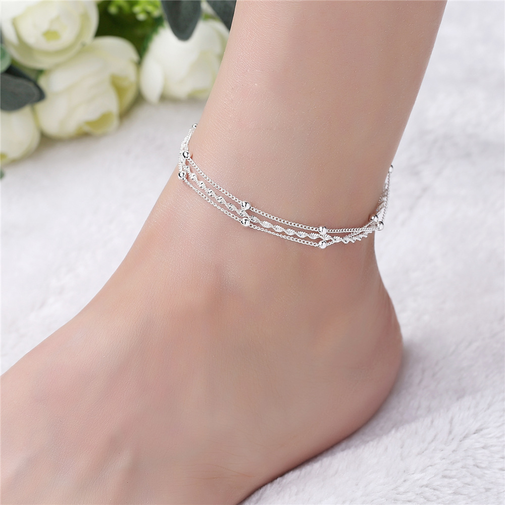 New Fashion S925 Sterling Silver Ankle Bracelet Elegant Twisted Weave Chain Summer Beach Anklet Women foot Jewelry Girl Gift