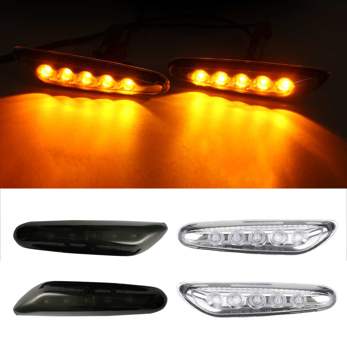 2x LED Side Marker Turn Signal Light Turn Indicator Blinker Lamp Signal Lamp for BMW E90 E91 E92 E46 E81 E82 E83 X3 E84 X1 image