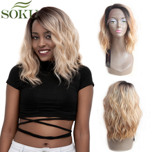SOKU Synthetic Lace Front Wigs Ombre Blonde Natural Wave Sho