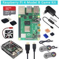 UK Raspberry Pi 4 Model B Game Kit + 64 32 GB SD Card + Acrylic Case + Fan + 3A Switch Power supply + Gamepads + Micro HDMI