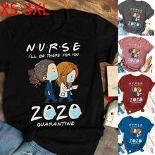 2020 Футболка с принтом маски медсестры Женская свободная футболка