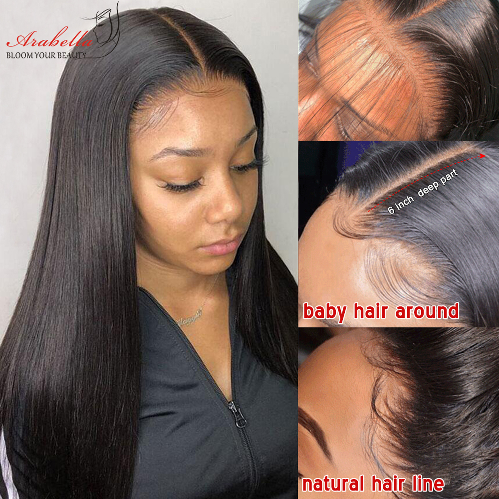 Straight Lace Front Wig 13*4 Lace Wig 100%  Wigs With Baby Hair PrePlucked Arabella  4x4 Lace Closure Wig 5