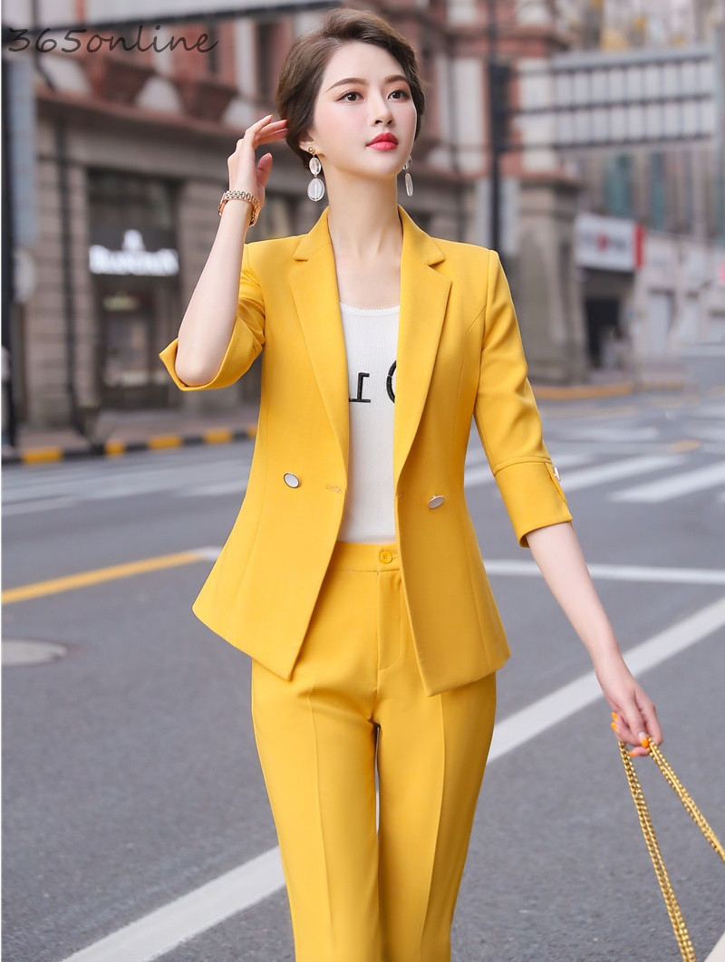 New Styles Formal Pantsuits With 2 Piece Set Pants And Jackets Coat For Women Professional Office Work Wear Blazers Pants Suits