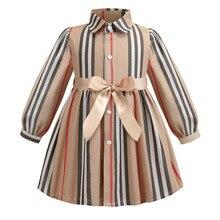 Платье для девочек весенние детские платья с длинными рукавами для девочек 2020, детские платья принцессы в полоску с бантом одежда для маленьких девочек от 2 до 6 лет