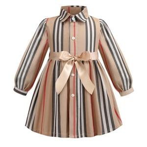 Image 1 - 女の子ドレス長袖 2020 春子供ドレスガールズストライプボウ子供幼児のためのガール服 2 6Years