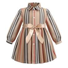 Kız elbise uzun kollu 2020 bahar çocuklar kızlar için elbiseler çizgili yay çocuk prenses elbiseler Toddler kız giyim 2 6Years
