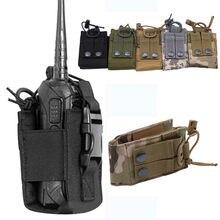 Bolsa de bolsillo para walkie-talkie de caza, bolsa colgante para deportes tácticos, Molle militar, nailon, Radio, Mag
