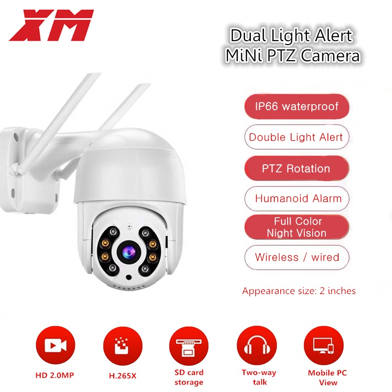 XM HD 1080P Wireless PTZ IP Camera Outdoor Wifi CMOS Night Vision H265X PTZ IR Security Camera Motion Detection Home Security