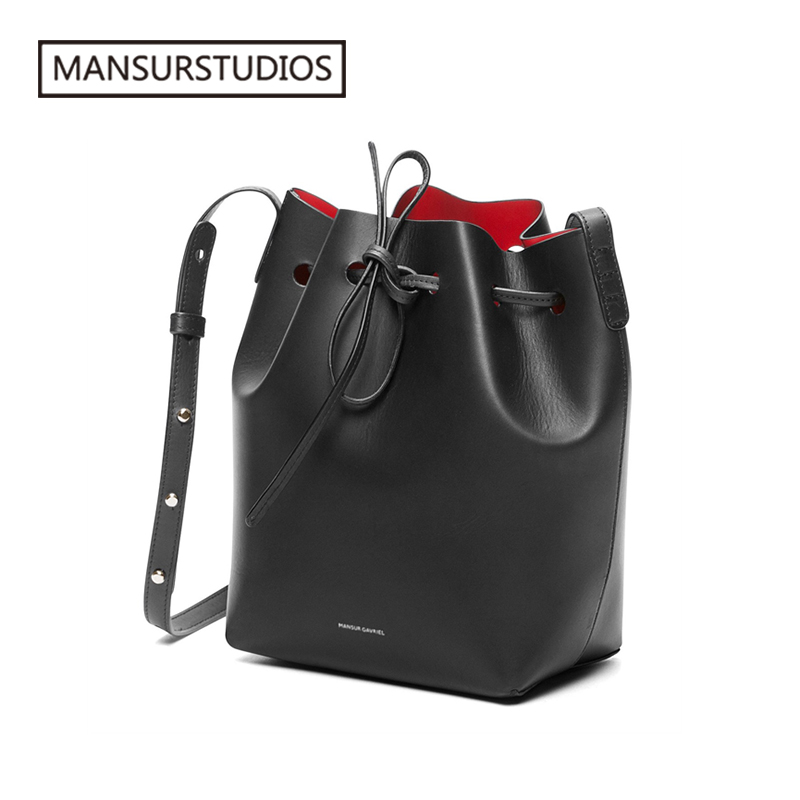 Image 2 - MANSURSTUDIOS MINI Bucket Bag Mansur women Real Leather Shoulder 