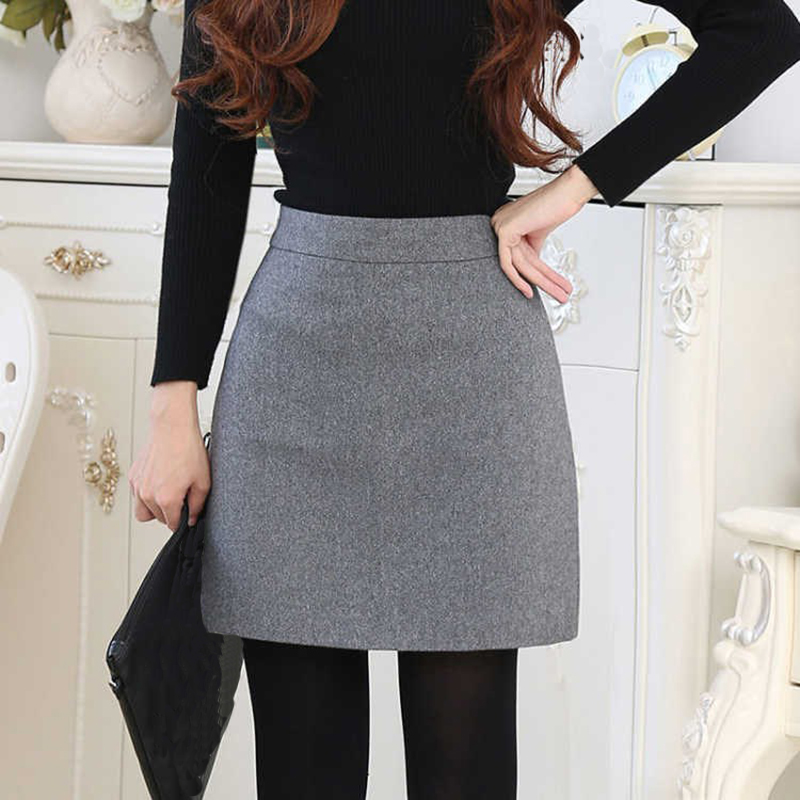Females Empire Solid Skirts Women Casual Mini Black Gray Mini Skirts  2019 Winter Chic A-Line Fashion Female Casual Skirts