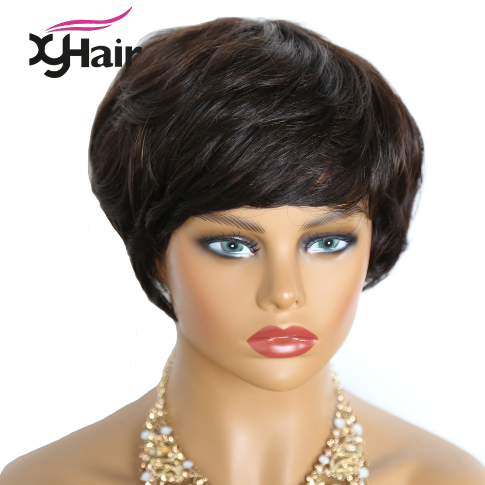 Short Human Hair Wigs Pixie Cut Wig Natural Hair Finger Wave Brazilian Wigs For Black Women Non-Remy Hair 130% Density