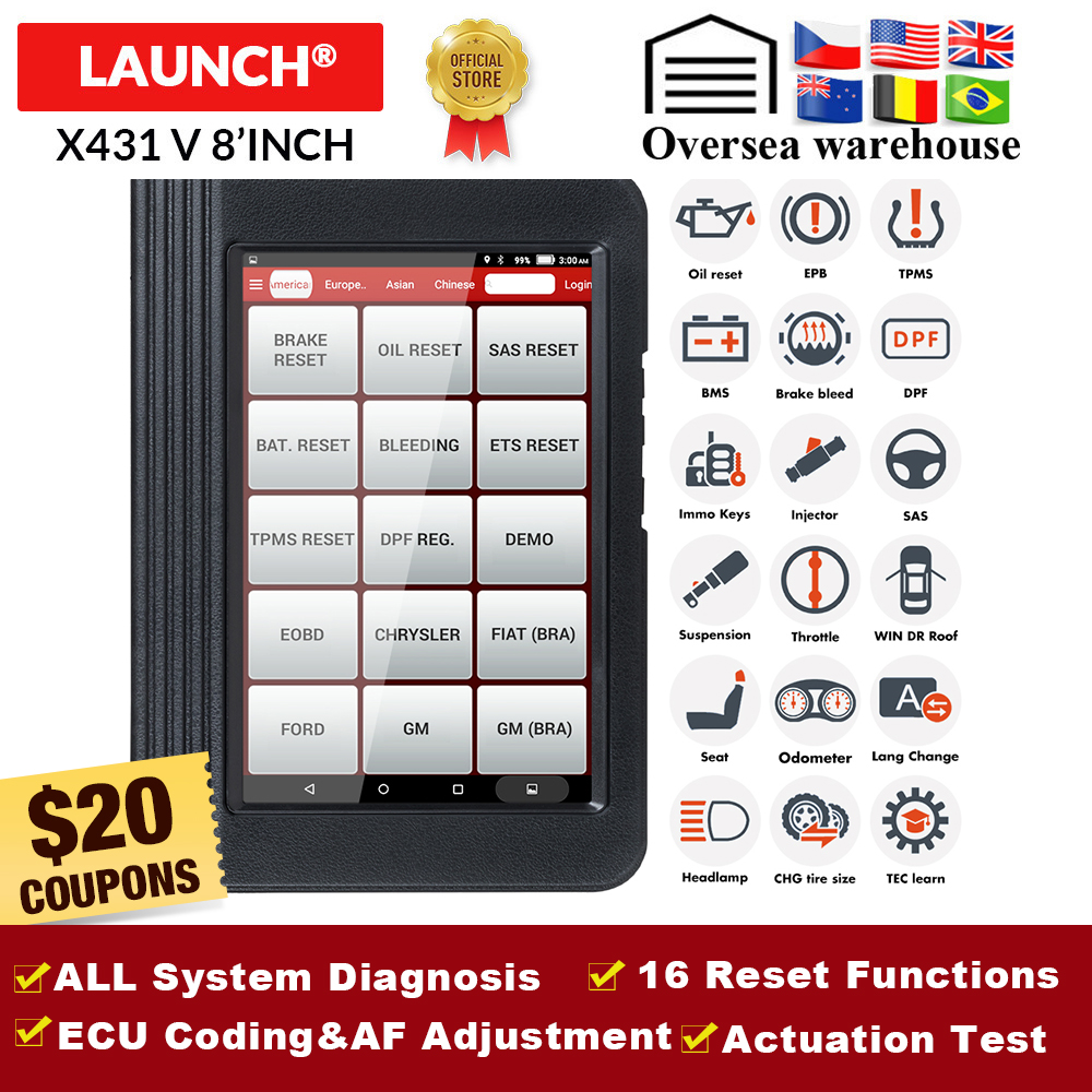 LAUNCH X431 V Full System Professional diagnostic tool with 16 Reset V Pro mini OBD2 code reader Scanner 2 years free update|x431 v|launch x431 vdiagnostic scanner - AliExpress