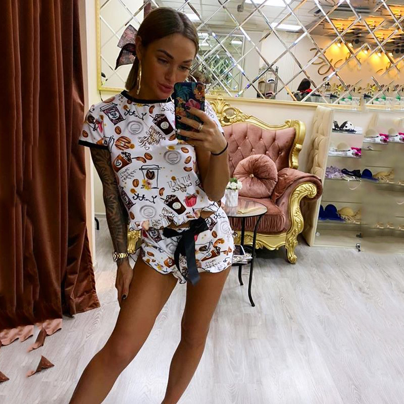 Hb35d9fc133294380b7894b4fd778729fb - OMSJ New Women Funny Sleepwear Party Suit Summer Casual Crop Top And Shorts Sets Female Two Piece Outfits Fashion Tracksuit