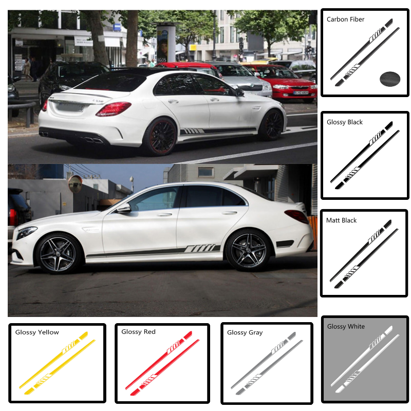Car Waist Side Skirt Sticker for <font><b>Mercedes</b></font> <font><b>Benz</b></font> W205 W204 W203 W212 W211 <font><b>W213</b></font> W222 W221 W146 E300 GLK CLA CLS ML GL <font><b>Accessories</b></font> image