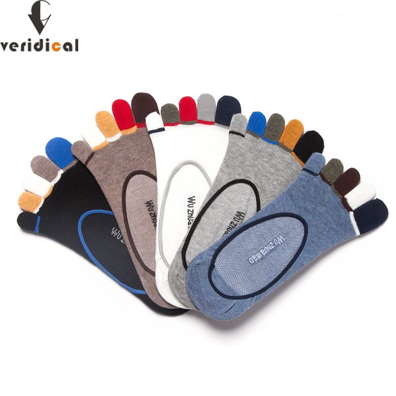 VERIDICAL 5 Pairs/lot Summer Mans Socks With Toes Cotton 5 Fingers Invisible Sock Meias Non-slip Mesh Breathable Sock Slippers