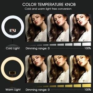 Image 2 - Travor 18 cal lampa pierścieniowa led możliwość przyciemniania dwukolorowa 512 sztuk lampa pierścieniowa ze statywem do Studio oświetlenie fotograficzne lampa pierścieniowa
