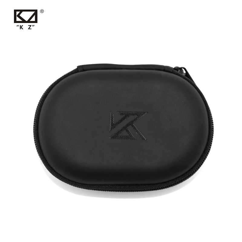 KZ Oval logo Storage Bag Headphones PU Zipper Storage Box Black Portable Hold Storage Box Suitable For Original Earphones AS10