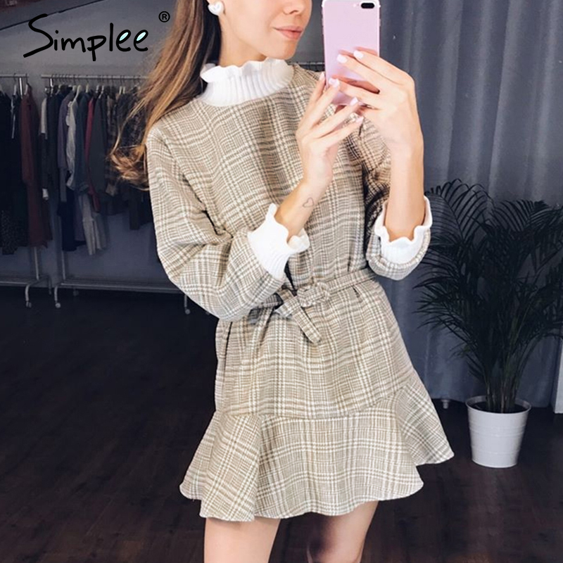 Simplee Elegant Plaid Dress Women Turtle Neck Knitted Short Dress Female Ruffle Sashes Vintage Autumn Office Ladies Vestidos