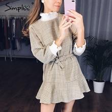 Simplee Elegante plaid delle donne del vestito collo lavorato a maglia abito corto femminile Ruffle telai dellannata di autunno ufficio delle signore abiti