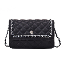 2019 PU Leather Women Messenger Bag Plaid Ladies Crossbody Bag Chain Trendy Candy Color sweet Small Flap Shopping Handbag