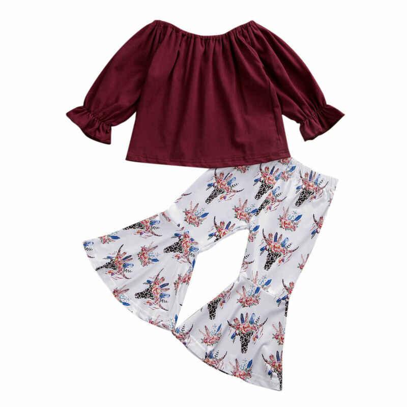 2019 bebê primavera outono roupas recém-nascido do miúdo da menina do bebê fora do ombro topos camiseta floral perna larga calças 2 pçs define roupas 1-6 t