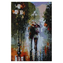 Paintworks Pintura Pelo Número de Kits Diy Pintura A Óleo Walking in the Rain 16x20 Polegada Presente Original (Sem Moldura)(China)