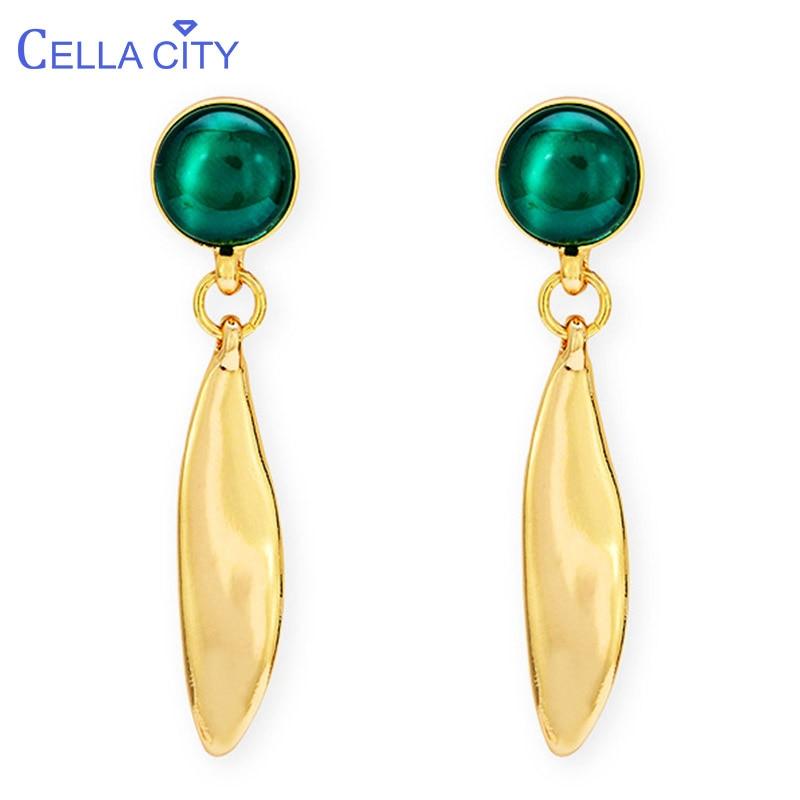 Cellacity Trendy Round Green Cat's Eye Ear Drops Gemstones Pearl Earrings For Women Geometry Silver 925 Jewelry Elegant Gift