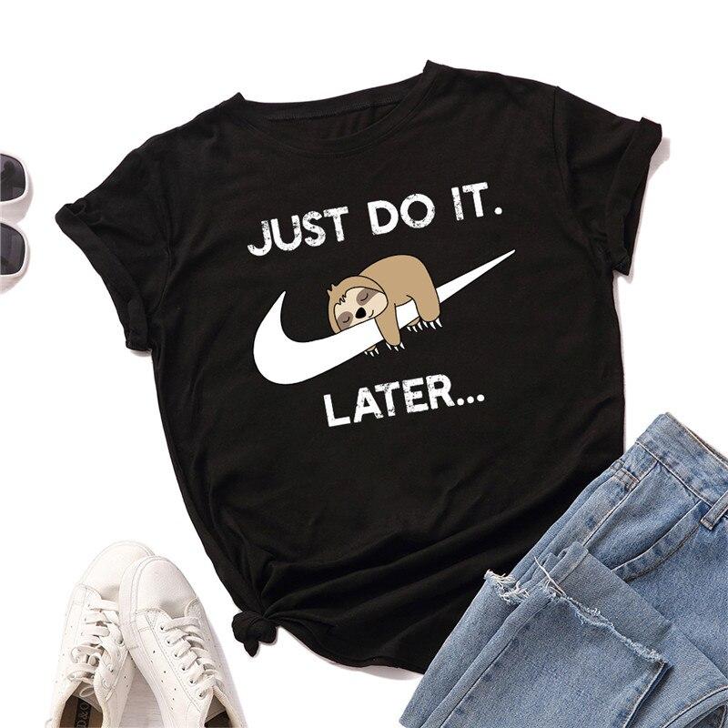 Plus Size S-5XL Fashion Sloth Print Women T-Shirt 100%Cotton Women Shirts O Neck Short Sleeve Tees Summer T Shirt Women TShirt