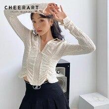 CHEERART – tunique froncée à manches longues pour femmes, haut à Crochet, vêtements de styliste à la mode, automne 2020