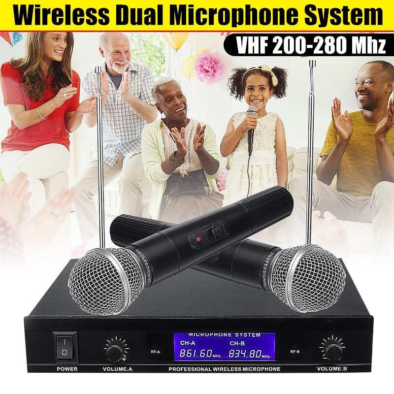 VHF-280MHZ беспроводной двойной микрофон системы передатчик ручной беспроводной караоке микрофон динамик с батареей для KTV Вечерние
