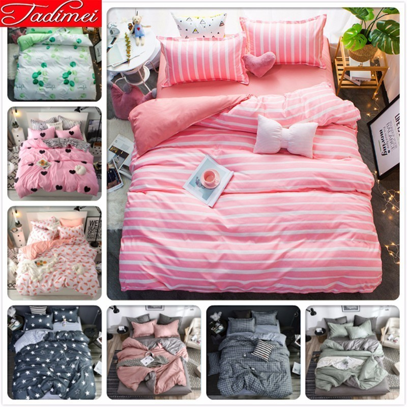 Pink Stripe Adult Child Girl Bedding Set Single Double Twin Full Queen King Size Duvet Cover Bedspreads Soft Cotton Bed Linen 2m