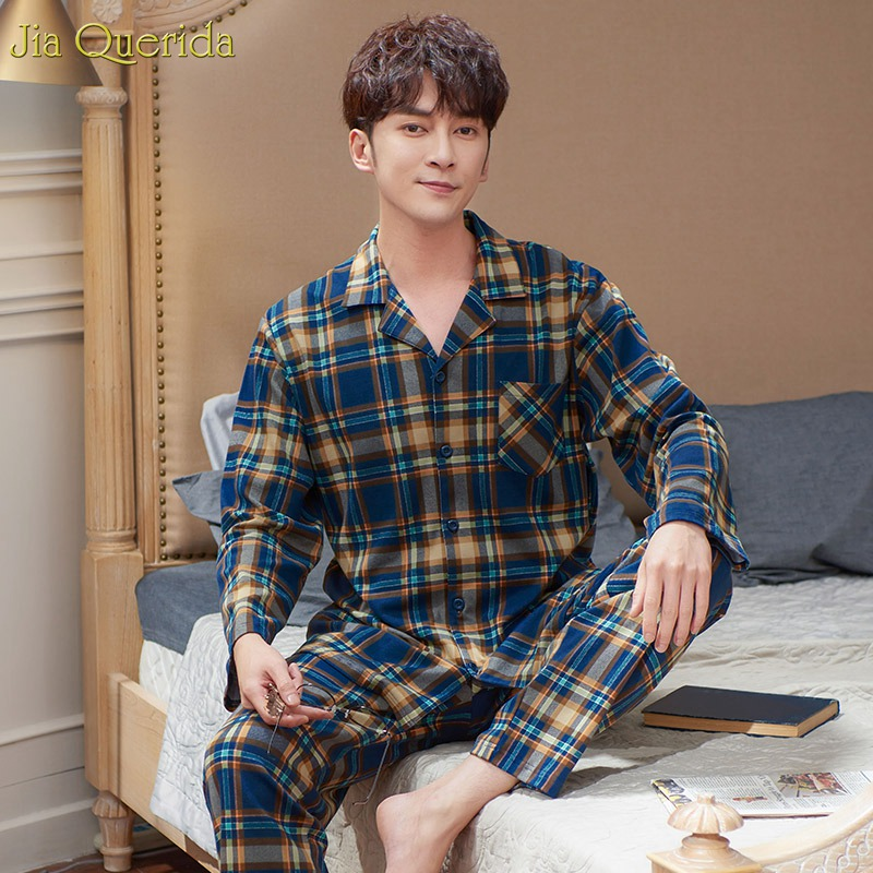 Pajamas For Men Plaid Lapel Nightwear 100% Cotton High Quality Sleepwear Men Long Sleeve Autumn Winter Pajamas Home Clothes Set