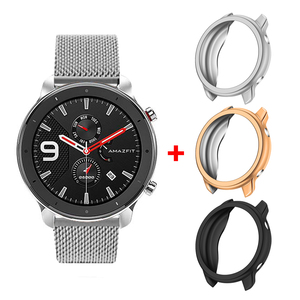 Smart Accessories for Huami Amazfit GTR 47mm Strap Stainless Steel Magnetic Bracelet + TPU Plating Case Bumper for Amazfit GTR|Smart Accessories| |  -
