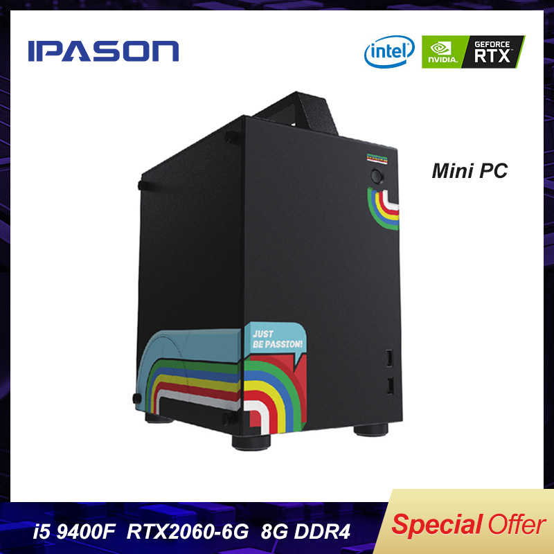 IPASON Gaming Box <font><b>Intel</b></font> 6-Core <font><b>i5</b></font> <font><b>9400F</b></font>/RTX2060 Desktop Computers 480G SSD/DDR4 8G RAM Full set of high-end PUBG game computers image