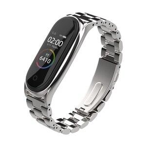 Image 4 - ミバンド5ストラップ金属リストバンドブレスレットmi曲げ4ベルトxiaomi correas miband 3 pulseira腕時計スマートアクセサリー