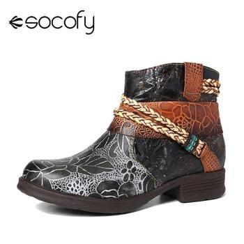 SOCOFY cuir véritable tissé corde en relief doux plat bottines élégantes dames femmes chaussures Botas Mujer 2020 bottes d'hiver