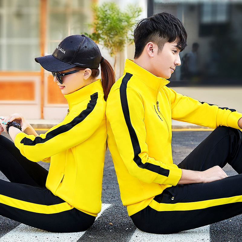 2019 Spring And Autumn New Style Stand Collar Slim Fit Korean-style Casual Couples Sports Set Men's Morning Run Fitness Suit Wom